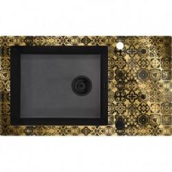 Deante Capella Zlewozmywak szklano-granitowy 1-komorowy z ociekaczem