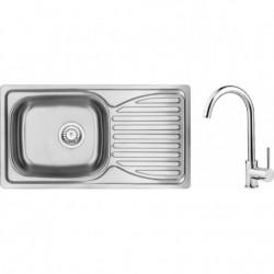 Deante Doppio Zestaw zlewozmywak stalowy 1-komorowy z ociekaczem + bateria zlewozmywakowa stojąca