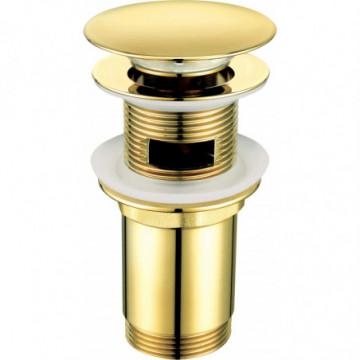 Korek Click-Clack do umywalki lub bidetu z tuleją złoty Deante NHCZ10U