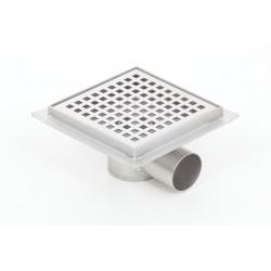 Wpust podłogowy z metalowym syfonem Kesmet Point 15x15 cm z pokrywą Round