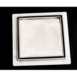 Wpust podłogowy z metalowym syfonem Kesmet Point 15x15 cm z pokrywą Ceramic