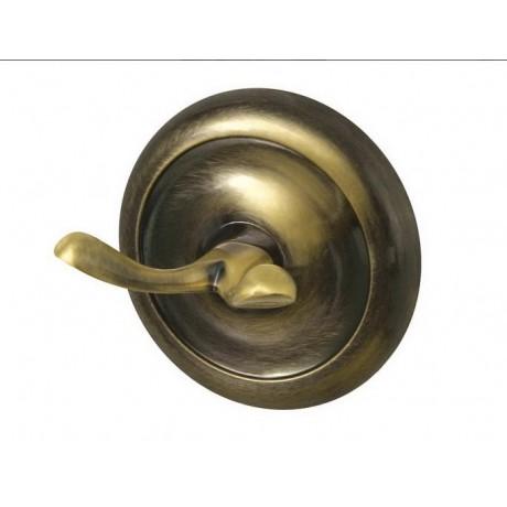 Wieszaczek podwójny BISK Deco 00408 / antyczny mosiądz