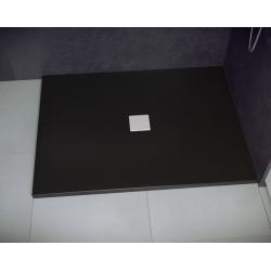 Brodzik prostokątny czarny Besco NOX ULTRASLIM BLACK 110x90x3,5