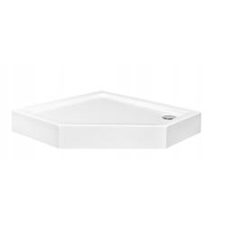 Brodzik pięciokątny zintegrowany biały Besco BERGO SLIMLINE 90x90x3